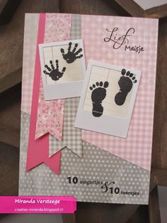 Miranda's Creaties: Themadag #49: Heel veel baby's Boy Cards, New Baby Cards, Kids Cards, Kids Birthday Cards, Marianne Design, Baby Prints, Card Tags, Scrapbook Cards, Homemade Cards