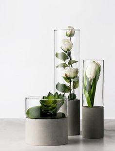 Nordic Minimalist Concrete cement succulent glass pot, minimal home decor infoor planter - Diy furniture modern Cement Art, Concrete Cement, Concrete Furniture, Concrete Crafts, Concrete Projects, Concrete Design, Concrete Planters, Modern Furniture, Polished Concrete
