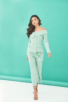Folded Tapered Trouser in Sage News Design, Sage, Trousers, Jumpsuit, Bodysuit, Romance, Blazer, Pretty, Fabric