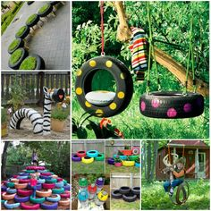 From tire swings to ottomans, there are many ways that you can repurpose old tires. Not only will you be helping the environment by reusing your old tires, you might save yourself some cash by making something that you want or need rather than buying it. Outdoor Projects, Diy Projects, Backyard Projects, Garden Projects, Tire Garden, Garden Kids, Garden Swings, Garden Junk, Family Garden