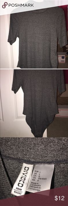 Dark Gray Body Suit Washed but never worn body suit from h&m. Size Large, best fit Medium in my opinion! H&M Tops Tees - Short Sleeve
