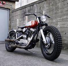 pinterest.com/fra411 #classic #custom - Wrenchmonkees' insane flat track inspired Harley Davidson Sportster with an old Husqvarna tank.
