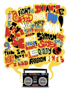 Hip Hop Boom Box illustration by Pedro Campiche :: via Arte Hip Hop, Hip Hop Art, Hip Hop Logo, Hip Hop Jeans, 80s Hip Hop, Hip Hop Quotes, Graphic Design Typography, Graphic Posters, Hand Typography