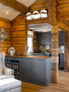 AlisaKe Engineered Eichenparkett How Parents Can Affect Their Children's W Log Cabin Living, Small Log Cabin, Log Cabin Homes, Small Cabin Kitchens, Log Home Kitchens, Mountain House Decor, Modern Log Cabins, Rustic Cabins, Log Home Interiors
