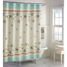 Beachy shower curtain!  Tremiti 72-Inch x 72-Inch Shower Curtain - BedBathandBeyond.com