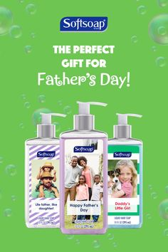 Your dad has enough ties. Design your own Softsoap® for a one-of-a-kind Father's Day gift. Create yours today at mysoftsoap.com. Please order by June 8th to ensure delivery by Father's Day.