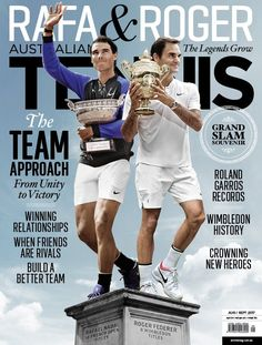 Rafael Nadal and Roger Federer cover the most recent issue of Australian Tennis Magazine (July 2017)