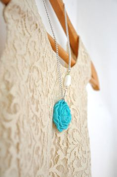 vintage rose polymer clay necklace
