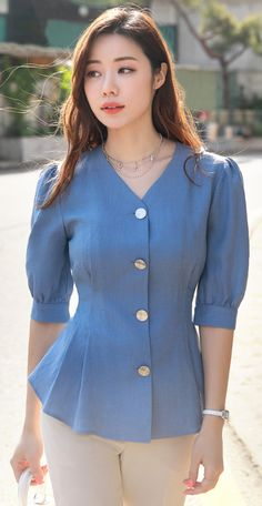 StyleOnme_Puff Sleeve Button-Up Peplum Blouse Fancy Blouse Designs, Designs For Dresses, Myanmar Dress Design, Look Office, Look Street Style, Stylish Dresses For Girls, Peplum Blouse, Blue Blouse, Girls Blouse