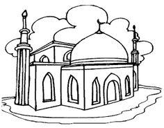 Gambar Mewarnai Gambar: Gambar mewarnai masjid untuk anak.