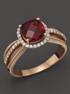 14K Rose Gold Diamond & Garnet Cushion Ring