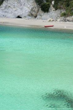 New Zealand, North Island, Coromandel, Stingray Cove, clear blue ocean water.