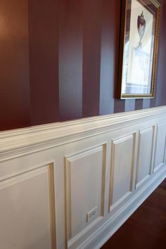 Gloss/Matte stripes; If this was in lavender or dark purple, it'd be perfect; love this idea for an upstairs hallway