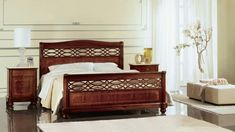 Bed perforated and inlaid by hand, for classic bedrooms Quilted Headboard, Headboard Art, Velvet Headboard, Leather Headboard, Headboard And Footboard, Headboards For Beds, Luxury Rooms, Luxurious Bedrooms, Luxury Bedding
