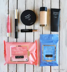 Neutrogena Beauty & Skincare Regimen. I have the primer and powder and I love them both. I'm interested in the foundation and the makeup wipes. I haven't heard much about the other products in the picture