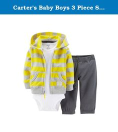 Carter's Baby Boys 3 Piece Striped Hooded Cardigan Set (Yellow) (Newborn). A perfect sporty outfit, these bold stripes pair with a coordinating short-sleeve bodysuit and bottoms for a quick and cute playtime outfit.