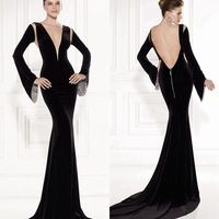 2015 New Arrvial Long Sleeves Evening Dresses Plunging Neck Color Black Evening Gowns Sexy Sheer Tulle Back Dress Evening Zipper