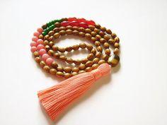 Long wooden boho chic festival tassel necklace by Aella Jewelry Wooden Necklace, Stone Necklace, Tassel Necklace, Ethnic Jewelry, Beaded Jewelry, Beaded Bracelets, Unique Jewelry, Hippie Boho, Boho Chic