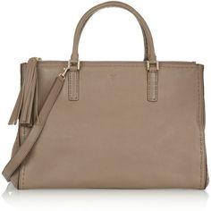 Anya Hindmarch Pimlico III medium leather tote (14 330 UAH) ❤ liked on Polyvore featuring bags, handbags, tote bags, mushroom, brown leather purse, embossed leather tote, brown tote, leather tote bags and leather purses