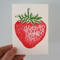 Cute mini strawberry. Letterpress card from Archivist Press. £1.80