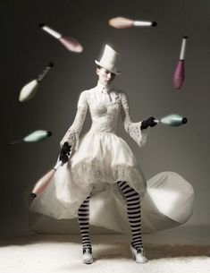 Juggling act. Circus side show images. Like fashion in black and white.