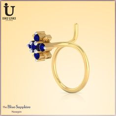 The Blue Sapphire NosePin - Select from the best range of Nose Pins for Women at IskiUski.com   #DiamondNosePin #NosePin #Diamondjewellery #IskiUski