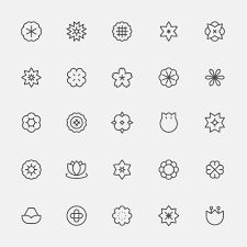 Set of monochrome simple line style flower icons. Simple Lines, Flat Design, Pattern Fashion, Monochrome, Style Patterns, Icons, Social Media, Illustration, Flowers