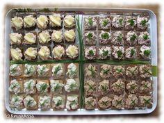 Cocktail-lajitelma kuuluu meillä usein juhlapöydän suolaiseen osastoon. Lajitelmasta jokainen löytää omat suosikkinsa ja pienen kokonsa ansiosta niitä jaksaa maistaa useita makuja. Katkarapua lukuun ottamatta tahnat voi tehdä edellisiltana jääkaappiin valmiiksi. Nämä reseptit on suhteutettu siten, että jokaisesta tulee suunnilleen sama määrä suupaloja (n. 25 - 35 kpl/laji). Cocktail-palat Lohitäyte: 150 g lämminsavulohta (perattuna) 1 dl […] Appetizer Recipes, Appetizers, Finnish Recipes, Cocktail Party Food, Food Festival, Sweet And Salty, Zucchini, Nom Nom, Food And Drink