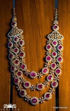 Diamond Necklace Ruby and Diamond 3 step chain from Nikitha Linga Jewellery Ruby Jewelry, India Jewelry, Stone Jewelry, Diamond Jewelry, Diamond Necklaces, Tiffany Jewelry, Resin Jewellery, Emerald Necklace, Dainty Jewelry