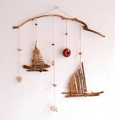 Driftwood Sailboats mobile, Sailboat mobile, Ceiling hanging, Driftwood art, Hanging decor, House warming decor, Wall hanging, Home gift