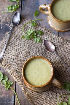 Chilled Tomatillo Avocado Soup by Savory Simple
