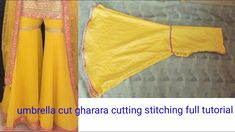 Too inspiring and trending umbrella cut ghrara cutting stitching full tutorial Girls Dresses Sewing, Frocks For Girls, Dress Sewing Patterns, Baby Dresses, Trendy Dresses, Circle Skirt Tutorial, Pants Tutorial, Neck Designs For Suits, Designs For Dresses