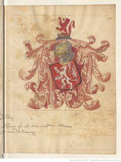 Titre : Recueil de blasons coloriés et de dessins à la plume d'armes et de portraits de différents membres de la maison de Clèves. Français 24182 Date d'édition : 1501-1700 27