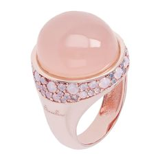 Ring in 18 kt rose gold plated bronze with pink chalcedony and pavé of pink opal, Bronzallure.