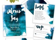 Watercolor Suite //  Watercolor Wedding Invitation, Beach Wedding Suite, Destination Wedding Invitation, Boho Wedding Invitation