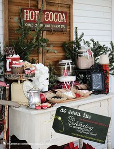 gorgeous hot cocoa bar ... love the natural elements