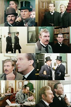 Jeremy Brett David Burke striking some classic Holmes Watson poses! 'Good Viewing', nay EXCELLENT viewing! Jeremy Brett Sherlock Holmes, Sherlock Tv, Detective Sherlock Holmes, Adventures Of Sherlock Holmes, Granada, David Burke, Doctor Johns, Violin Music, 221b Baker Street