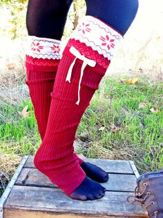 73678162a Christmas Stockings Leg Warmers Boot Socks Winter Snowflake Red Printed  Sweater Socks with Velvet Bows.