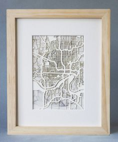CUSTOM Framed Laser cut map with Watercolor by CollectedEdition