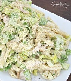Chicken Caesar Pasta Salad Recipe with Romaine and Penne Pasta. Mayyyybe I can make this w gf pasta, Idk if it'll come out okay and be soft enough with the noodles once cooked to be able to eat chilled, but I'll try it Chicken Caesar Pasta Salad, Chicken Pasta Salad Recipes, Penne Pasta Salads, Cold Chicken Recipes, Cold Pasta Recipes, Crab Pasta Salad, Chicken Penne Pasta, Best Chicken Salad Recipe, Pasta Salat