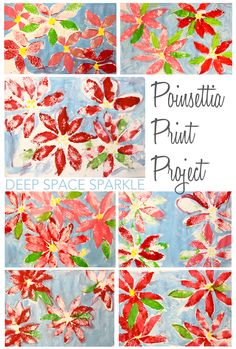 simple Poinsettia print art project:  use a Q-tip in yellow paint make 5-6 dots in a group.  Make about 4 groups of dots.  Use a sponge cut into shape of a petal & dip into red, pink or white paint.  Outline the petals with light blue paint and fill it in.