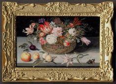 Floral Still Life, after Bosschaert #2 by Linda McBreen - $525.00 : Swan House Miniatures, Artisan Miniatures for Dollhouses and Roomboxes