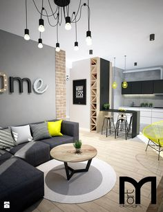 🌟 💖 🌟 💖 dark grey corner sofa, round coffee table with wooden top and yellow accents Home Living Room, Interior Design Living Room, Living Room Designs, Living Room Decor, Bedroom Decor, Grey Corner Sofa, Gray Sofa, Deco Design, Home Fashion