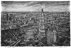 Aerial view of the Shard (in the evening) - drawings and paintings by Stephen Wiltshire MBE