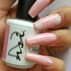 Simple but Cute Breast Cancer Awareness Nails