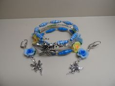 Blue Rose Fae OSFA Memory Wire Bracelet and Dangle Earrings - Elva at ELVA'S MOONLIGHT MADNESS OUTBID BINGO AUCTION ON Sunday, 8/11/2013, 6:15pm. Win $50.
