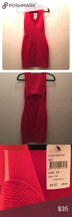 NWT ASTR red cutout and mesh bodycon dress size XS NWT ASTR red cutout and mesh bodycon dress size XS. Beautiful color and great for a formal event or night out! Smoke free and pet free home. ASTR Dresses Mini