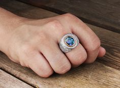 Mens Silver Ring Abalone Men's 925 silver ring 925 by ATAjewels