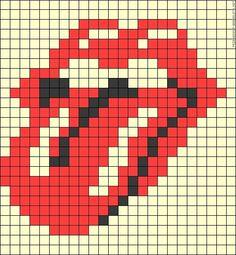 The Rolling Stones tongue logo perler bead pattern Hama Beads Patterns, Loom Patterns, Beading Patterns, Art Patterns, Embroidery Patterns, Crochet Patterns, Cross Stitching, Cross Stitch Embroidery, Cross Stitch Patterns