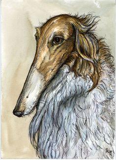 A Little Conversant  BORZOI DOG PRINT by AlmostAnAngel66 on Etsy, £15.00